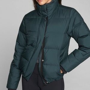 athleta pine green puffer jacket. size xs.